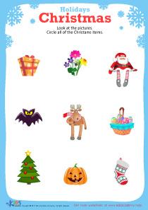 Free printable Christmas worksheet