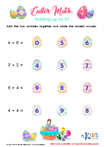 Addition up to 10 worksheet