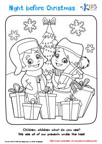 Girl and Boy Christmas Coloring Page
