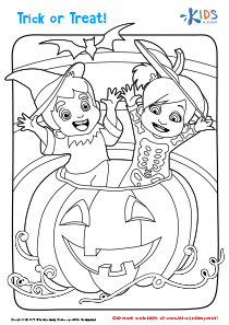 Free Halloween Coloring Pages: a Girl and a Boy