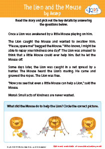 The lion and the mouse sequencing worksheet