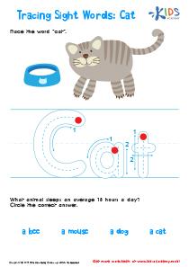 Sight Words Worksheet: Cat