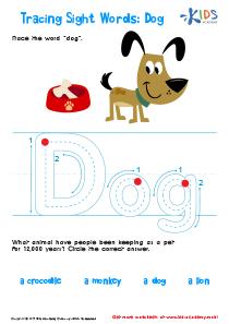 Sight Words Worksheet: Dog
