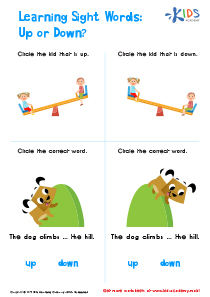 Colored Sight Words Up or Down