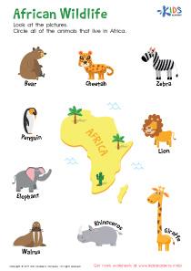 African Wildlife Printable Worksheet