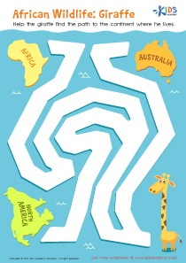 African Wildlife Giraffe Worksheet