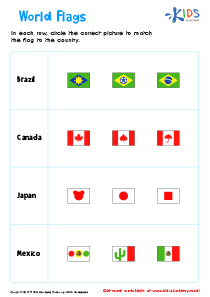 Flags of the World Printable Worksheet