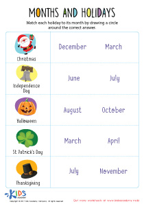 Month and holidays PDF worksheet