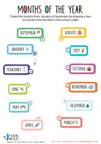 Months of the year PDF worksheet