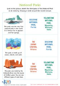 USA National Parks Worksheet