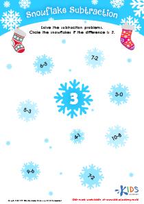 Subtraction printable worksheet: snowflake