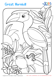 Worksheet: great hornbill coloring page