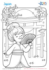 Worksheet: Japan coloring page