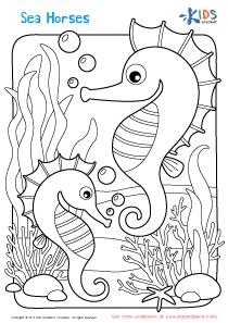 Worksheet: sea horses coloring page