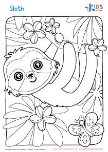 Worksheet: sloth coloring page