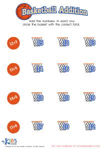 Basketball Addition Worksheet