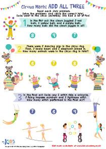 Circus Math Printable Worksheet