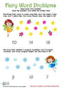 Flower Fairy Addition Worksheet