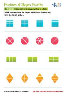 Fractions of Shapes Printable Worksheet