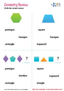 Geometry Review Printable Worksheet