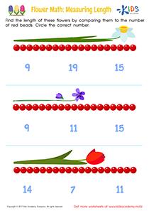 Measuring Length Worksheet: Flower Math