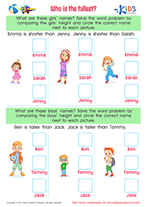 Measurement Worksheet: Who is the Tallest?