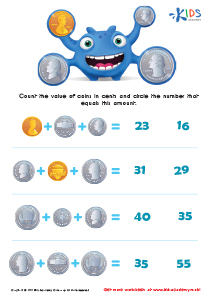 Printable Money Games and PDF Worksheets: Counting the Coins