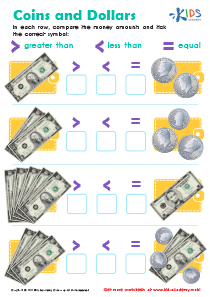 Money Worksheet: Coins and Dollars