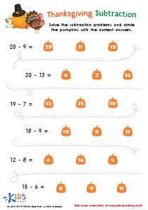 Thanksgiving subtraction worksheet