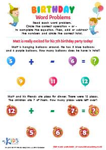 Subtraction worksheet: Birthday Word Problems