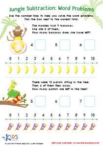 Worksheet: subtraction word problems