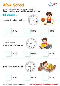 Telling time printable worksheet: After School