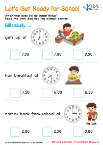 Telling time worksheet: get ready for school