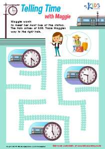 Worksheet: telling time with Maggie