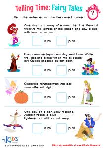 Telling time worksheet: fairy tales
