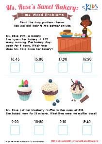 Time word problems worksheet: sweet bakery