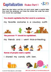 Capitalization Worksheet, 1st Grade
