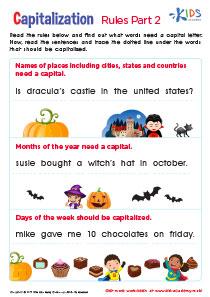 Worksheet: Practice Capitalization, 1st Grade