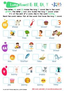 Long Vowel E Printable Worksheet
