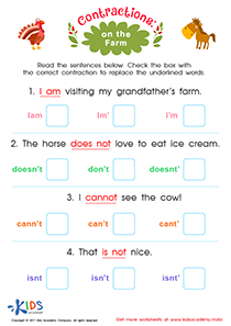 Contraction worksheet: On the Farm