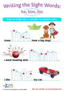 Sight Word Worksheet: He, Him, His
