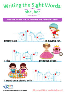 Sight Word Tracing Worksheet: She, Her