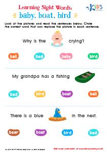 Sight Word Worksheet: Baby, Boat, Bird