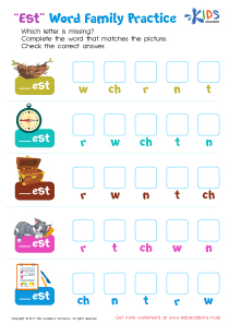 "Spelling worksheet: ""est"" words"