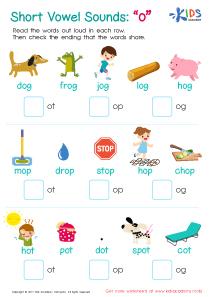 Spelling worksheet: Short Vowel Sounds O