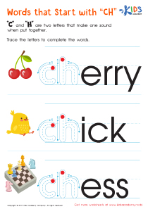 """Worksheet: words that start with """"ch"""""""