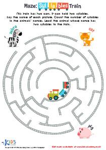 Printable maze worksheet: syllables