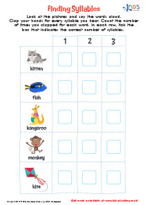 Word structure worksheet: syllables