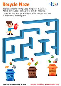 Recycling maze worksheet