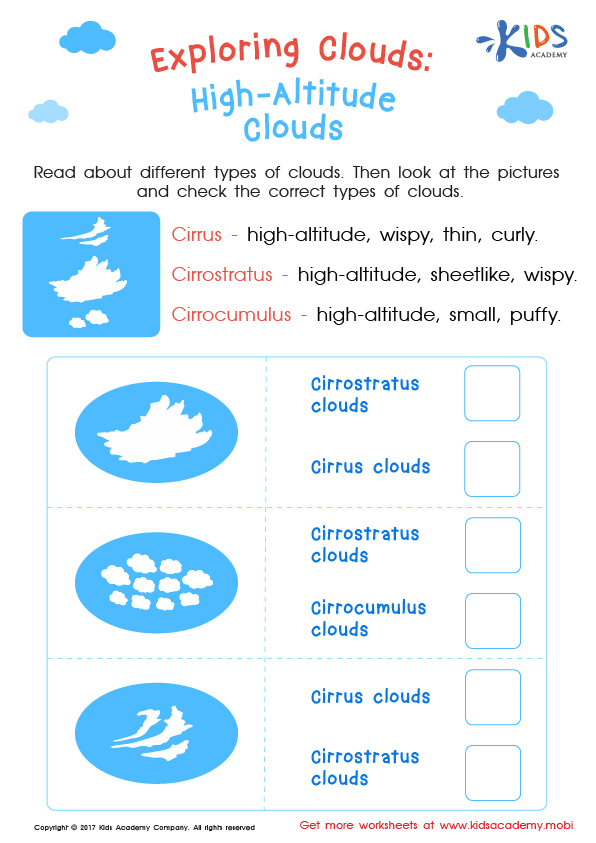 Worksheet: type of high altitude clouds